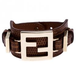 Fendi Brown Lizard Embossed Leather Monogram Buckle Bracelet