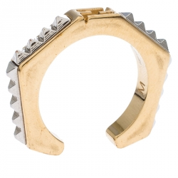 Fendi Two Tone Textured Baguette Ring M