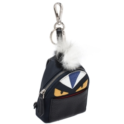 Fendi Multicolor Leather, Fur and Nylon Micro Monster Backpack Bag Charm