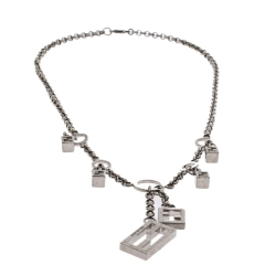 Fendi FF Charm Silver Tone Chain Link Necklace