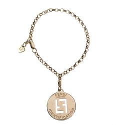 Fendi FF Identification Charm Gold Tone Bracelet