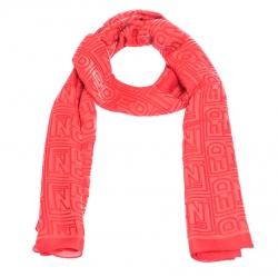 Fendi Coral Red Logo Monogram Silk Stole