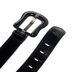 Fendi Black Patent Leather Waist B Buckle Belt 75CM