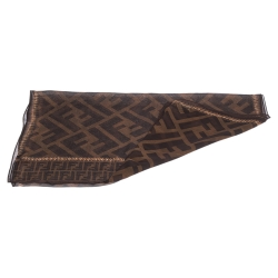 Fendi Brown Zucca Monogram Print Silk Stole