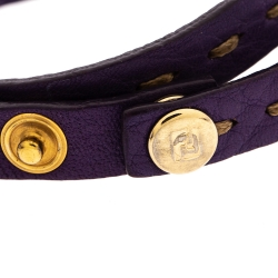 Fendi Selleria Purple Leather Gold Tone Double Wrap Bracelet