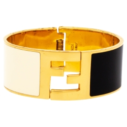 Fendi Enamel Fendista Gold Tone Bangle Size S