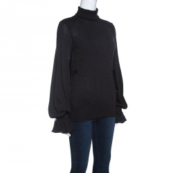 ce6d7b79e5ec9e Buy Celine Bottle Green Silk Zip Detail High Neck Long Sleeve Blouse ...