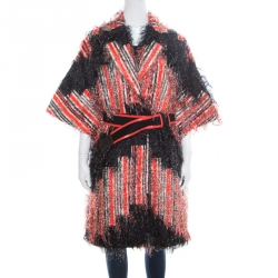 36a511d1386 Fendi Orange and Black Striped Faux Ostrich Feather Belted Coat S
