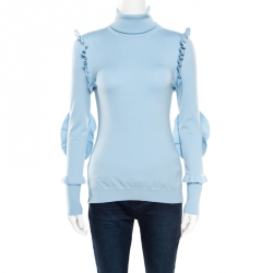 b9d41cb7101156 Fendi Powder Blue Cashmere Ruffled Elbow Patch Detail Turtleneck Pullover S