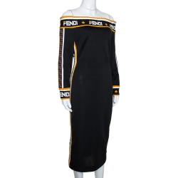 Fendi Black Stretch Knit Logo Trimmed Off Shoulder Midi Dress M