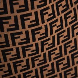 Fendi Brown Zucca Monogram Intarsia Knit Pencil Skirt S