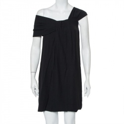 Fendi Black Crepe Pleated One Shoulder Mini Dress S