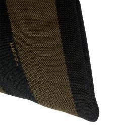 Fendi Tobacco Pequin Striped Canvas Cosmetic Pouch