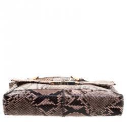 Fendi Beige Python Baguette Chain Flap Bag