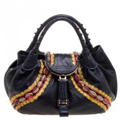 Fendi Dark Blue Leather Embroidered Limited Edition Spy Bag 8c334d31d0b91