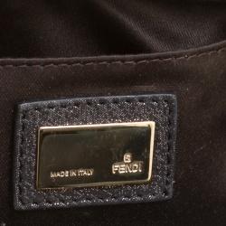 Fendi Metallic Zucca Glitters Baguette Chain Clutch