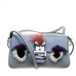 fde734194f90 Fendi Light Blue Leather and Fur Trim Micro Baguette Shoulder Bag