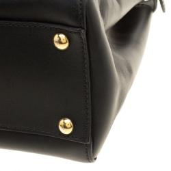 Fendi Black Leather Small Peekaboo Tote