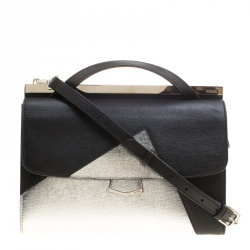 12b423dbe709da Fendi Black/Silver Textured Leather Small Color Block Demi Jour Shoulder Bag