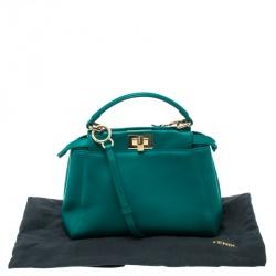 Fendi Green Leather Mini Peekaboo Top Handle Bag