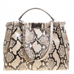 Fendi Beige Python with Suede and Python Lining Large Peekaboo Bag 2cf865eaea