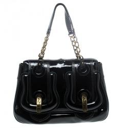 Fendi Black Patent Leather B Shoulder Bag
