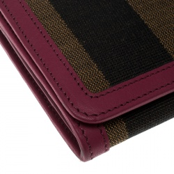 Fendi Brown/Burgundy Pequin Canvas and Leather Continental Wallet