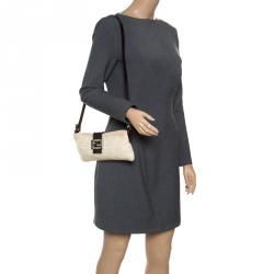 55e99076dfcc Fendi Off White Brown Zucca Canvas and Leather Shoulder Bag
