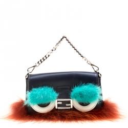 7669c2725a22 Fendi Blue Leather Multicolor Fur Trim Micro Baguette Pouch