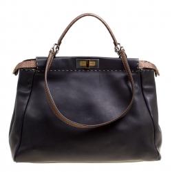 Fendi Black Bronze Seleria Leather Large Peekaboo Top Handle Bag ec3d87ee4209f