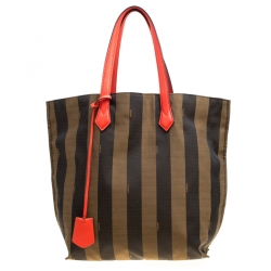 Fendi Tobacco Coral Red Pequin Striped Canvas and Leather Tote 64b3a16e1f579