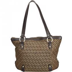 ae2f613c8289 Fendi Brown Zucchino Canvas Tote Bag