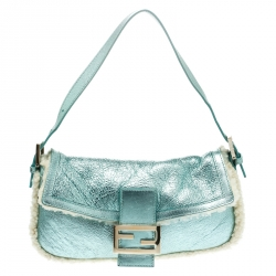 86231aad7871 Fendi Metallic Green Leather and Fur Lining Mini Mama Baguette Shoulder Bag