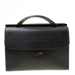 bad53de07f4e Fendi Black Textured Leather Small Demi Jour Top Handle Bag