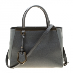 af91013e9dd5 Fendi Grey Saffiano Leather Small 2Jours Top Handle Bag