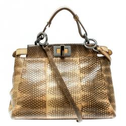 86ef3dfee50e Fendi Beige Python and Python Lining Mini Peekaboo Top Handle Bag