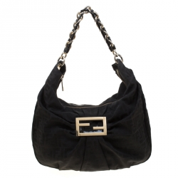 250f51fab1 Fendi Black Zucca Canvas Mia Hobo