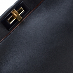 Fendi  Navy Blue Leather Medium Peekaboo Top Handle Bag