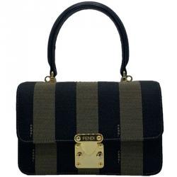 Fendi Khaki/Black Pequin Stripe Canvas Vintage Top Handle Crossbody Bag