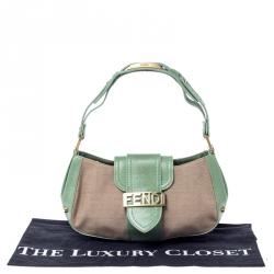 Fendi Beige/Green Zucca Canvas and Leather Baguette Shoulder Bag