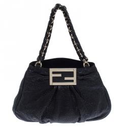 Fendi Black Leather Mia Hobo