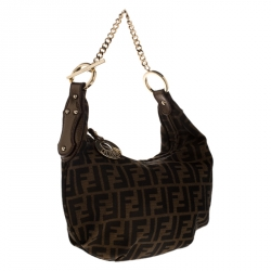 Fendi Brown/Gold Zucca Canvas and Leather Chef Chain Link Hobo