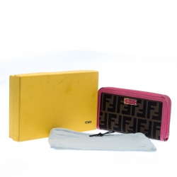 Fendi Pink/Tobacco Zucca Canvas Zip Around Wallet