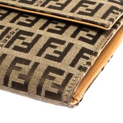 Fendi Beige Zucchino Canvas Trifold Compact Wallet
