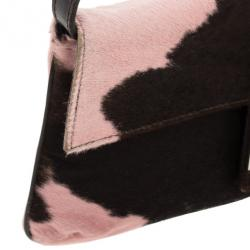 Fendi Pink Animal Pony Hair Cow Print Baguette Bag