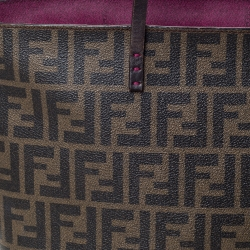 Fendi Tobacco Zucca Coated Canvas and Leather Roll Tote