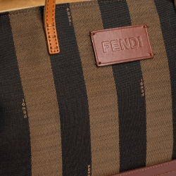 Fendi Brown Pequin Canvas, Leather  and Suede Roll Tote