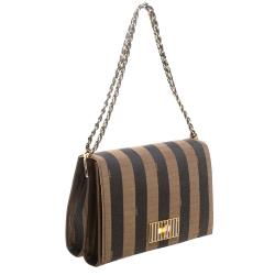 Fendi Tobacco Pequin Stripe Canvas Large Claudia Shoulder Bag
