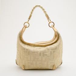 Fendi Gold Forever Woven Hobo Handbag