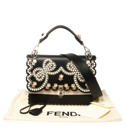 Fendi Black/Beige Embroidered Faux Pearl Leather Medium Kan I Pearl Top Handle Bag